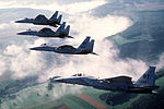 An air-to-air left side view of a formation of four 36th Tactical Fighter Wing F-15C Eagle aircraft armed with AIM-9 Sidewinder missiles DF-ST-87-11638.jpg