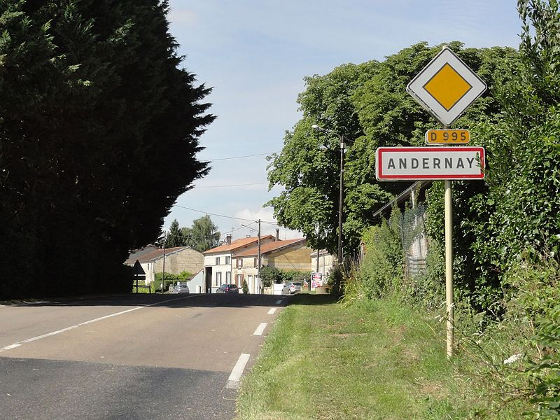 Andernay (Meuse) city limit sign
