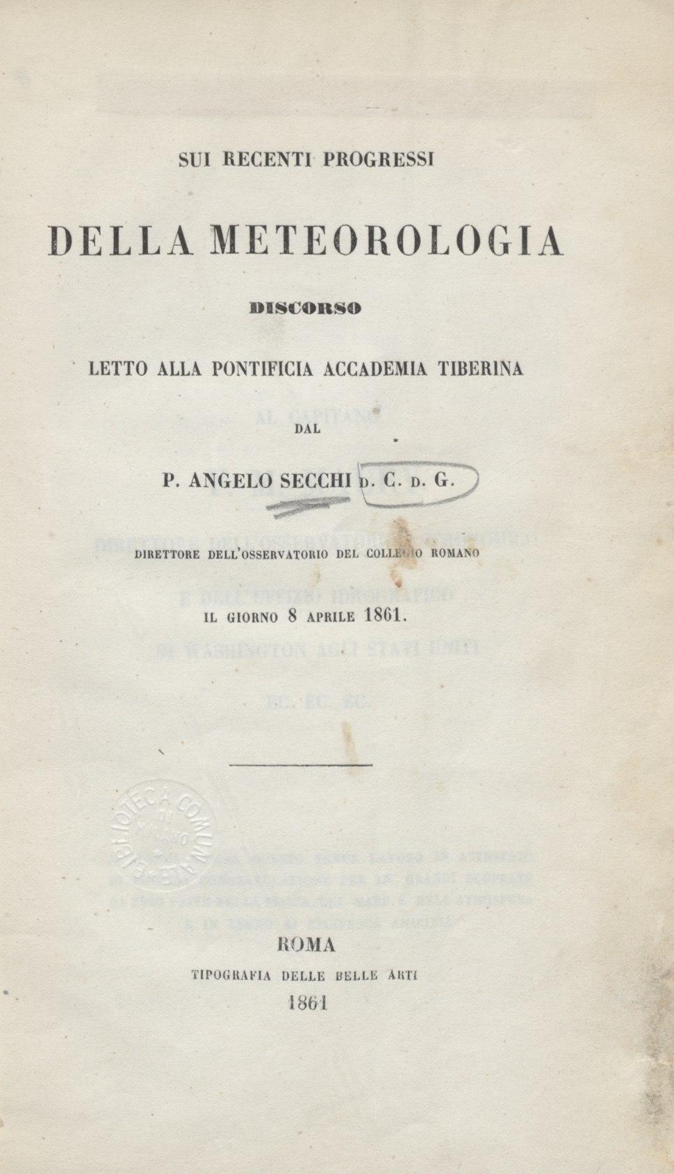 Angelo Secchi – Sui recenti progressi della meteorologia, 1861 - BEIC 6295977