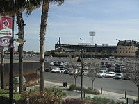 Angel Stadium, viewed from the Anaheim Amtrak/Metrolink station.