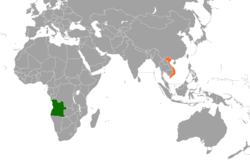 Map indicating locations of Angola and Vietnam