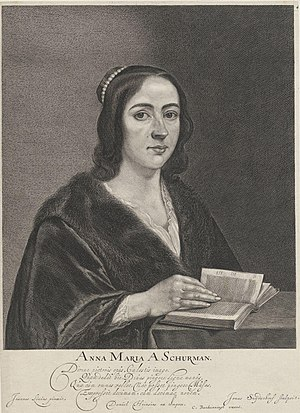 Jonas Suyderhoef - Engraved portrait of Anna Maria van Schurman after her portrait by Jan Lievens.