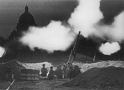 Fire of anti-aircraft guns deployed in the neighborhood of St. Isaac's cathedral during the defense of Leningrad (now called Saint Petersburg, its pre-Soviet name) in 1941.