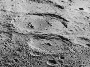 Numerov (crater) - Oblique Lunar Orbiter 5 image facing west of Antoniadi (above center) and Numerov (below center)