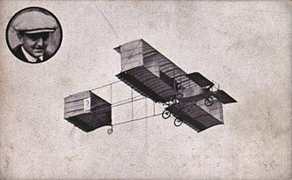 Henri Rougier - Anvers Aviation Meeting in 1909. Henri Rougier flying a Voisin biplane powered by a Gnôme Oméga engine