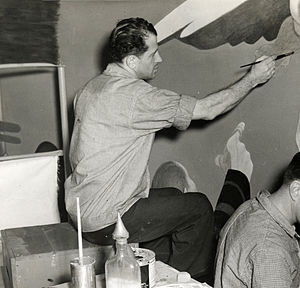 James Brooks (painter) - Brooks working on a mural, 1940