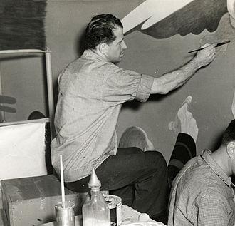 James Brooks (painter) - Brooks working on a mural, 1940