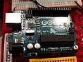 Arduino Uno, placa, Games Week, Madrid, España, 2015.JPG
