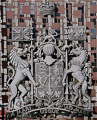 The Royal Arms of Canada displayed outside a courthouse in Edmonton, Alberta.