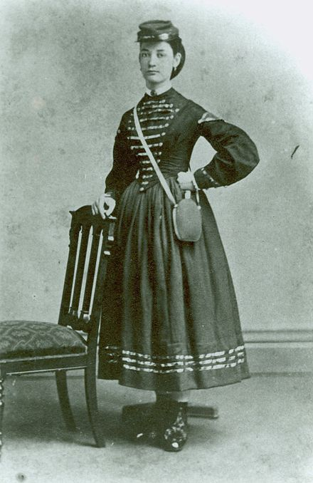 An unidentified American woman during the American Civil War, presumed to be a Vivandière. Army mil-2008-08-05-123736.jpg