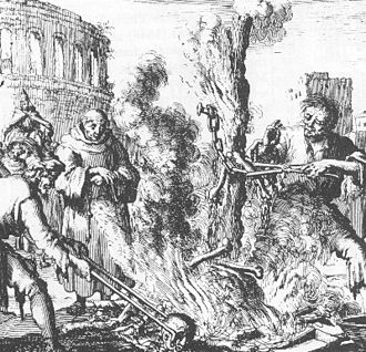 Arnold of Brescia - Dead corpse of Arnold of Brescia burned at the stake at the hands of the Papal guards; a much later print from Martyrs Mirror.