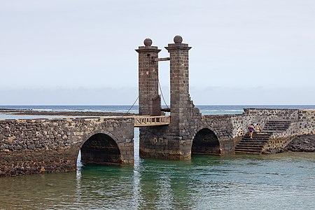 Bridge of the Castle of Saint Gabriel, Arrecife, Lanzarote, The Canary Islands, Spain.