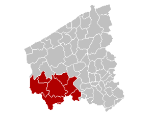 Arrondissement of Ypres - Image: Arrondissement Ieper Belgium Map