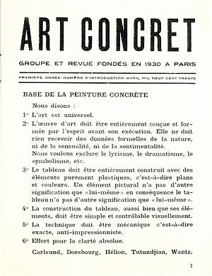 Art Concret - Art Concret manifesto, May 1930.