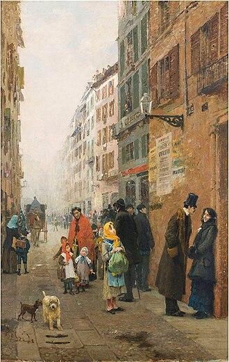 Luigi Rossi (painter) - Una via di Milano, 1881 ca. (Art collections of Fondazione Cariplo)