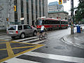 Articulated TTC streetcar at Queen Street and University Avenue.jpg