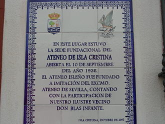Ateneo de Sevilla - A plaque at the Atheneum of Isla Cristina (province of Huelva) noting that it was founded in imitation of the Ateneo de Sevilla