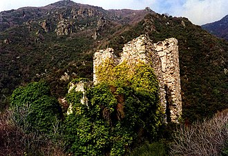 "Mount Athos - A Byzantine watch tower, protecting the ""arsanas"" (αρσανάς, =dock) of Xeropotamou monastery"