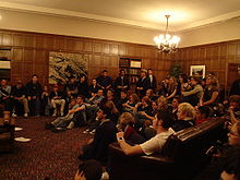 Attendance at a regular debate of the Trinity College Literary Institute