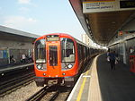 S7 Stock Circle Line train at Wood Lane, bound for Hammersmith