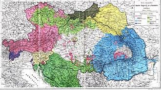 Demographic history of Vojvodina - Image: Austro Ungaria si Romania (harta etnica)