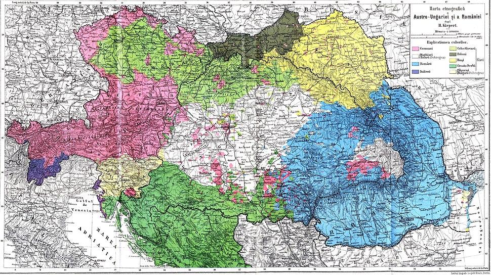 Austro-Ungaria si Romania (harta etnica)