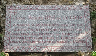 Hugh d'Avranches, Earl of Chester - Plaque commemorating Hugh d'Avranches in Avranches, Normandy.