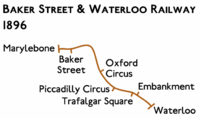Route diagram showing line running from Marylebone at top left to Waterloo at bottom right