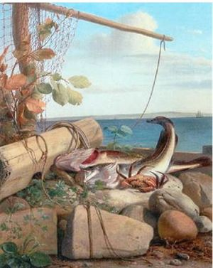 Carl Balsgaard - Still-life with Fish and Crab; one of his few without fruits or flowers.
