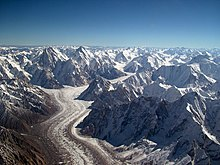 The 62 kilometer long Baltoro Glacier, in  northern Pakistan, is one of the longest glaciers outside the polar  regions