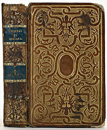 A book cover, made of gilded brown calf's leather