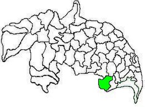 Bapatla mandal - Mandal map of Guntur district showing   Bapatla mandal (in green)