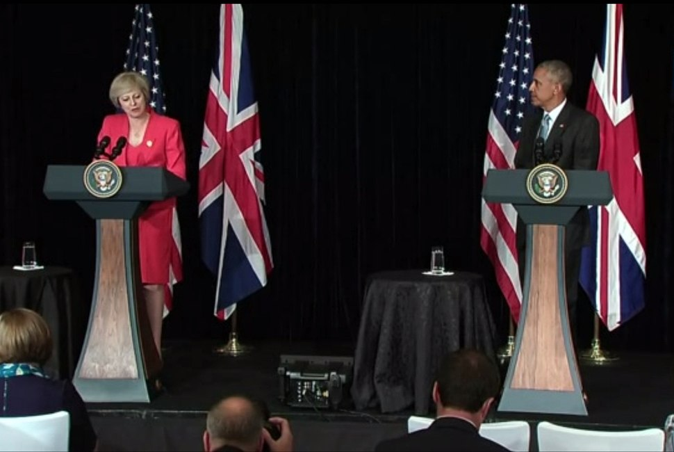 Barack Obama and Theresa May deliver a joint press statement in Hangzhou, China