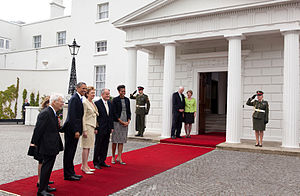 Dan Rooney - Rooney with President Obama and President  McAleese at Áras an Uachtaráin during Obama's trip to Ireland in May 2011.