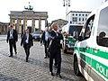 Barack Obama greets German Police near the Brandenburg Gate.jpg