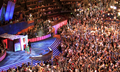 Barack Obama speaks via satellite to convention and wife Michelle Obama and daughters at 2008 DNC (2894750784).png