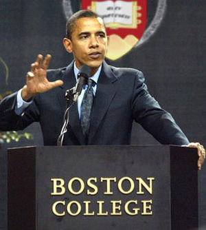 United States Senate career of Barack Obama - Senator Obama addresses the First Year Student Convocation at Boston College, September 2005.