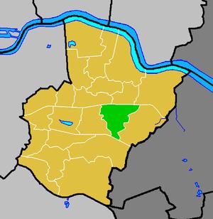 Barnehurst - Barnehurst ward (green) within the London Borough of Bexley (yellow)
