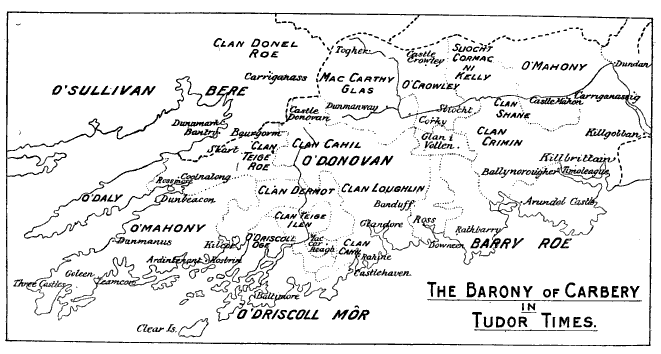 A map of Carbery in Tudor times featuring the various Gaelic clans living in the area.