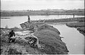 Barrier Between Waterbody And Drain Carrying Leather Industries Waste Under Construction - Science City Site - Dhapa - Calcutta 1993-06-25 0615.JPG