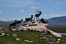 Wapiti Trail bronze sculpture by Bart Walter, National Museum of Wildlife Art, Jackson Wyoming.
