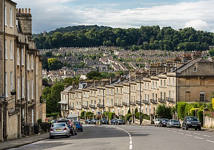 Looking north-west from Bathwick Hill towards the northern suburbs, showing the variety of housing typical of Bath Bathwick Hill, Bath, Somerset, UK - Diliff.jpg