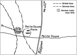 171st Tunnelling Company - Plan of the deep mines at La Petite Douve Farm