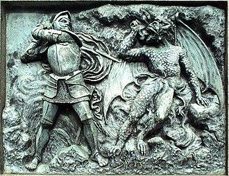 Statue of John Bunyan, Bedford - Image: Bedford Bunyan Statue Relief 2