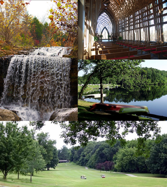 Bella Vista, Arkansas - Clockwise, from top: Mildred B. Cooper Memorial Chapel, Lake Ann, Bella Vista golf, and a waterfall along Tanyard Creek