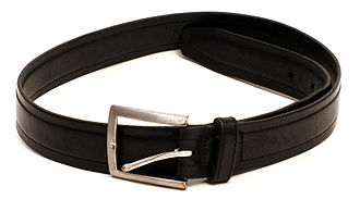 Belt (clothing) - A common black leather belt with a metal belt buckle