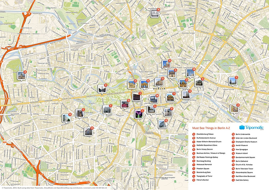 Carte touristique de Berlin - Image de Tripomatic.com