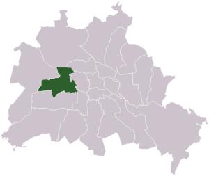 Lage des ehemaligen Bezirks Charlottenburg in Berlin