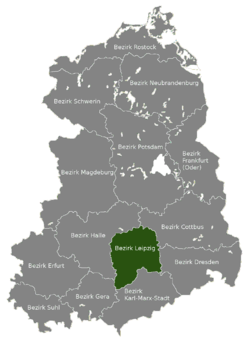 Location of Bezirk Leipzig within the German Democratic Republic