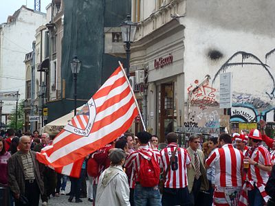 Athletic Bilbao fans in Bucharest before the Europa League final Bilbao fans.JPG